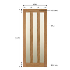 Glazed 3 Vertical Panel Solid Oak Door