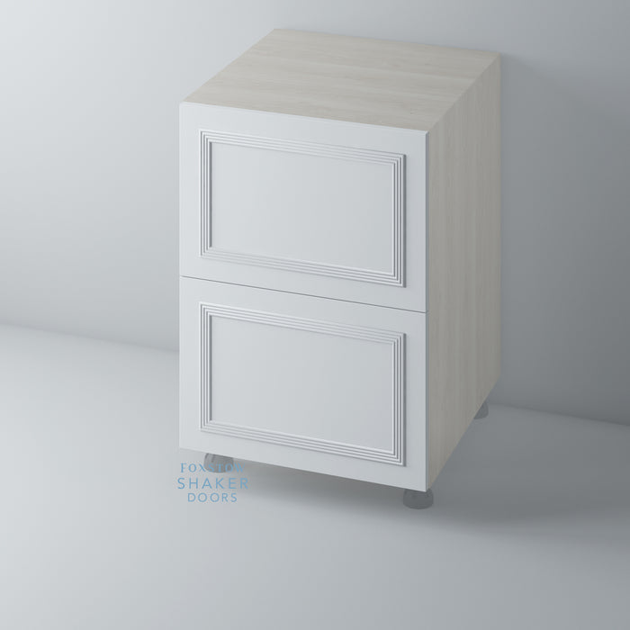 Primed Flat Panel Kitchen Drawers with Reed Moulding