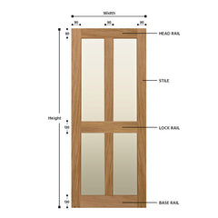 Glazed 4 Vertical Panel Solid Oak Shaker Door