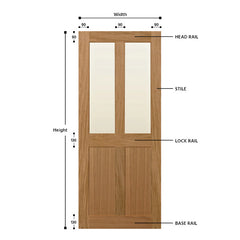 Top Half Glazed 4 Vertical Panel Solid Oak Door