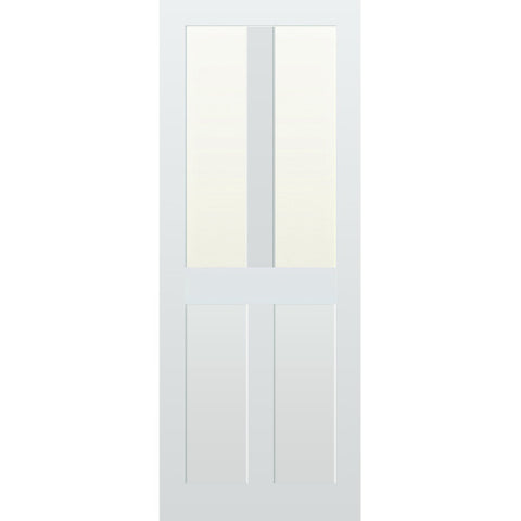 Top Half Glazed 4 Panel Vertical Hardwood Door