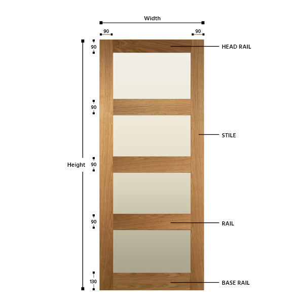Glazed 4 Panel Solid Oak Shaker Door