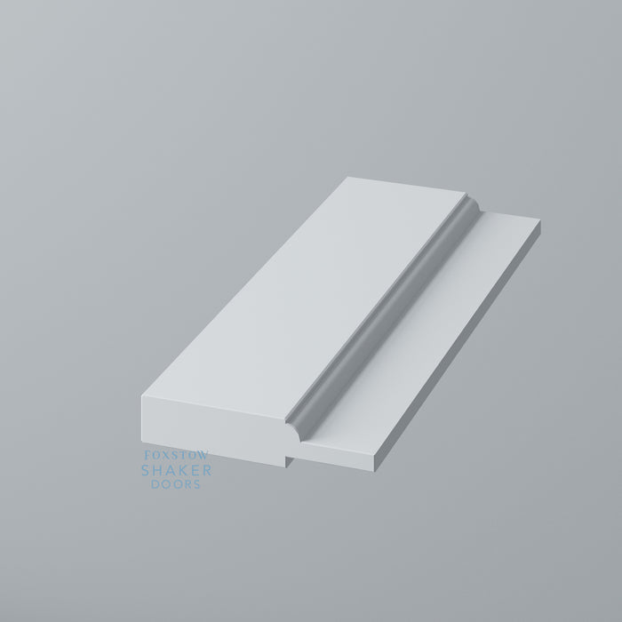 Detail: Primed Shaker Kitchen End Panel with Ovolo Mouldings