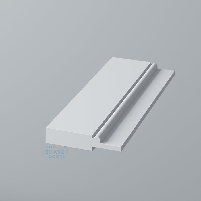 Detail: Primed Shaker Kitchen Drawer with Staff Bead Moulding