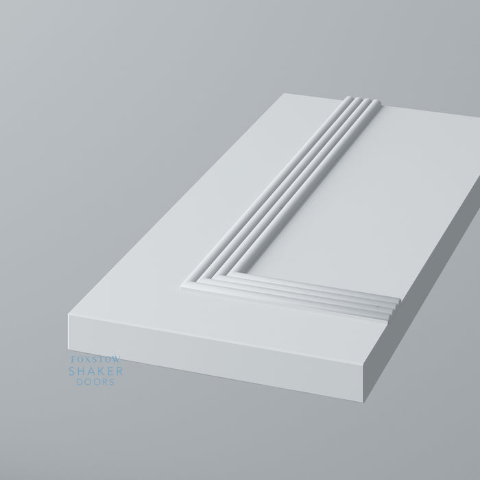Detail: Primed Flat Panel Kitchen Drawers with Reed Moulding
