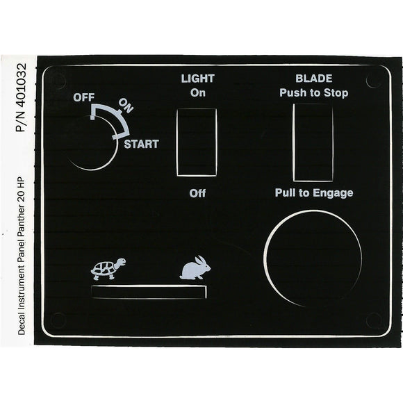 401032 DECAL INSTRUMENT PANEL PANTHER 20HP