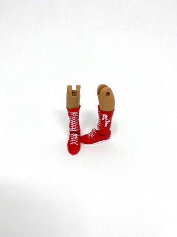 Red Boots with White Laces and RF initials