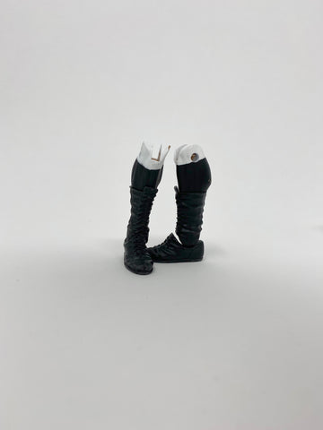 Black Laced Mid Boots (With Black and White on Calf)