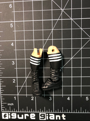 Mid-Lace Boots with black and white strip socks