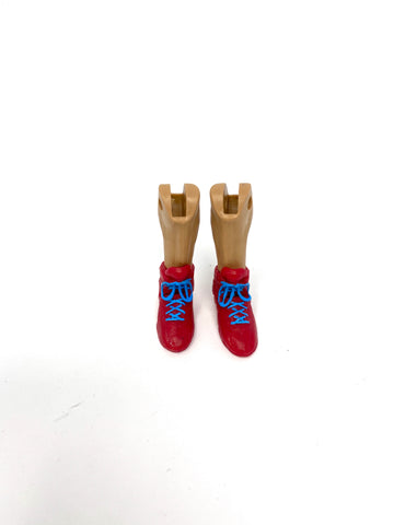 Red Wrestling Shoes with Blue laces