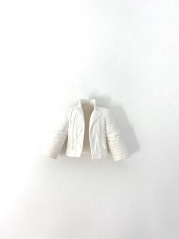 White Leather Jacket with Wings