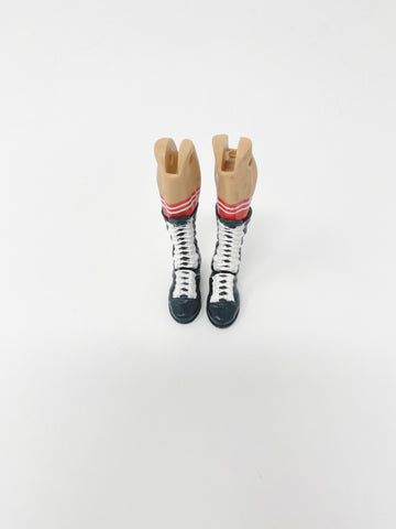 Black boots with White Lace and red/white socks
