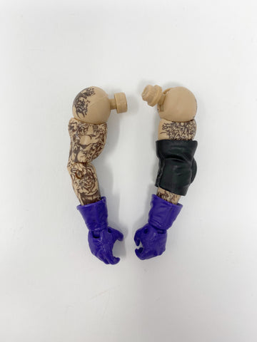Purple Gloves with Tattoo Arms and elbow pad