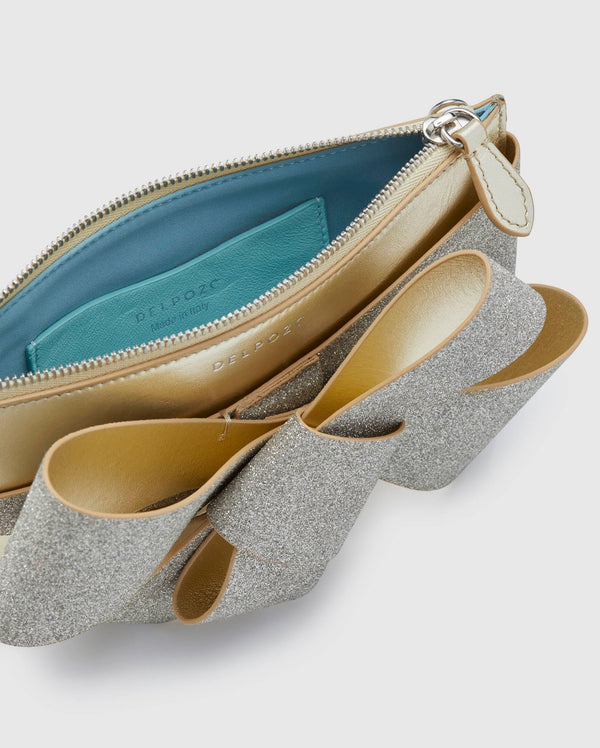 Delpozo Mini Bow Glitter & Metallic Leather Clutch