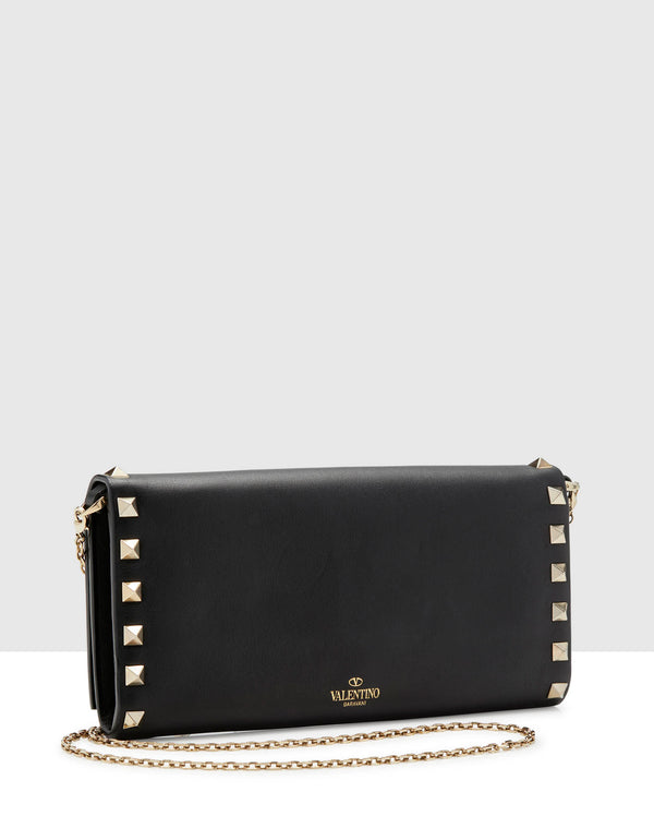 Valentino Black Studded Wallet with Shoulder Starp