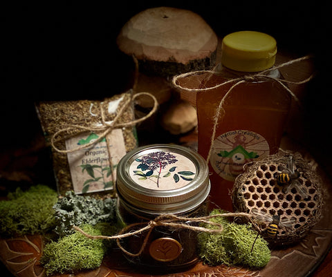 Herbal Ally Box:  Elder-including Elderberry Syrup Making Kit.