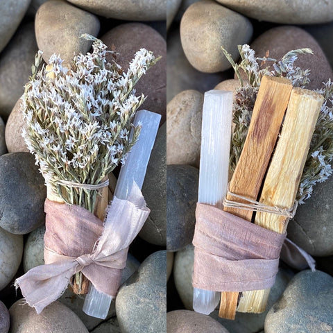 Ecuadorian Palo Santo + White Selenite Bundle