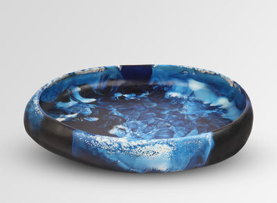 Large Resin Rock Bowl - Lapis Swirl