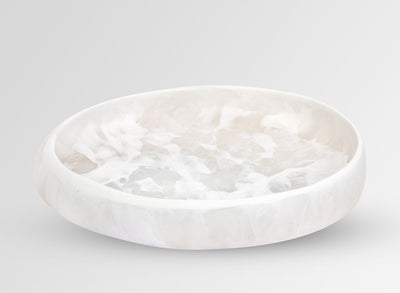 Large Resin Rock Bowl - Snow Swirl