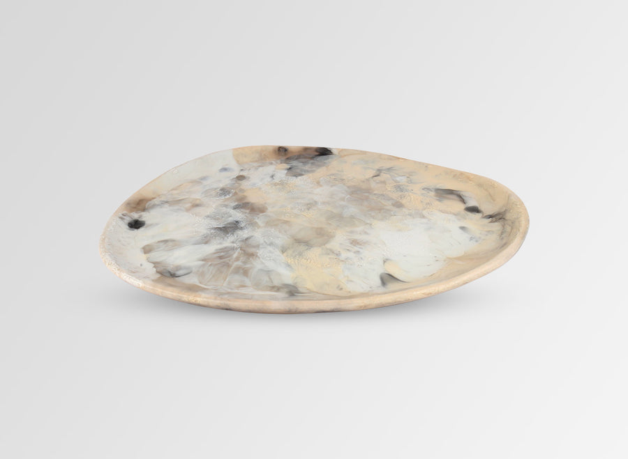 Resin Pebble Platter - Sandy Pearl
