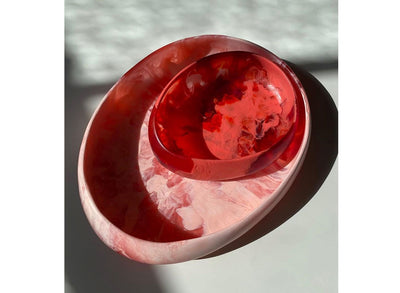 Large Resin Rock Bowl - Pink Guava