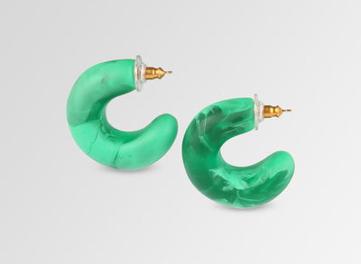 Resin Organic Loop Earrings - Leaf