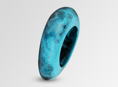 Large Resin Rock Bangle - Dark Turquoise