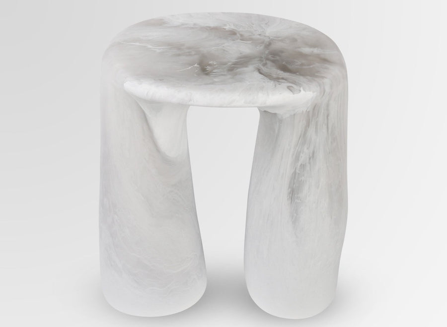 Resin Rock Tower Table - Snow Swirl