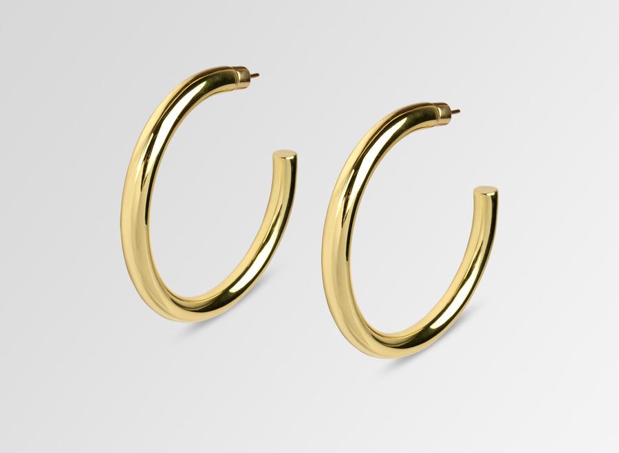 Louise Olsen Large Bold Sade Hoop Earrings- Brass
