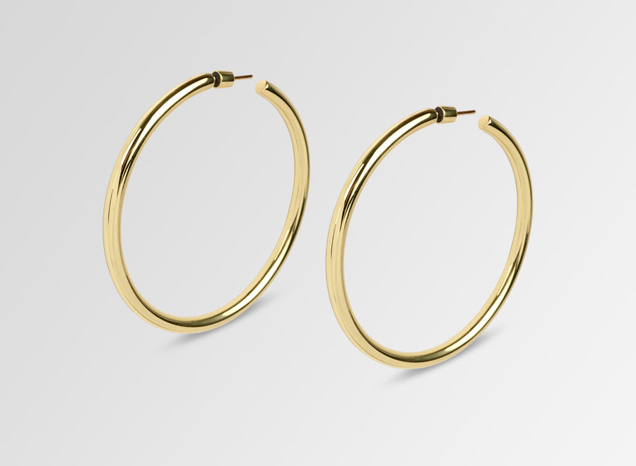 Louise Olsen Large Fine Sade Hoop Earrings- Brass