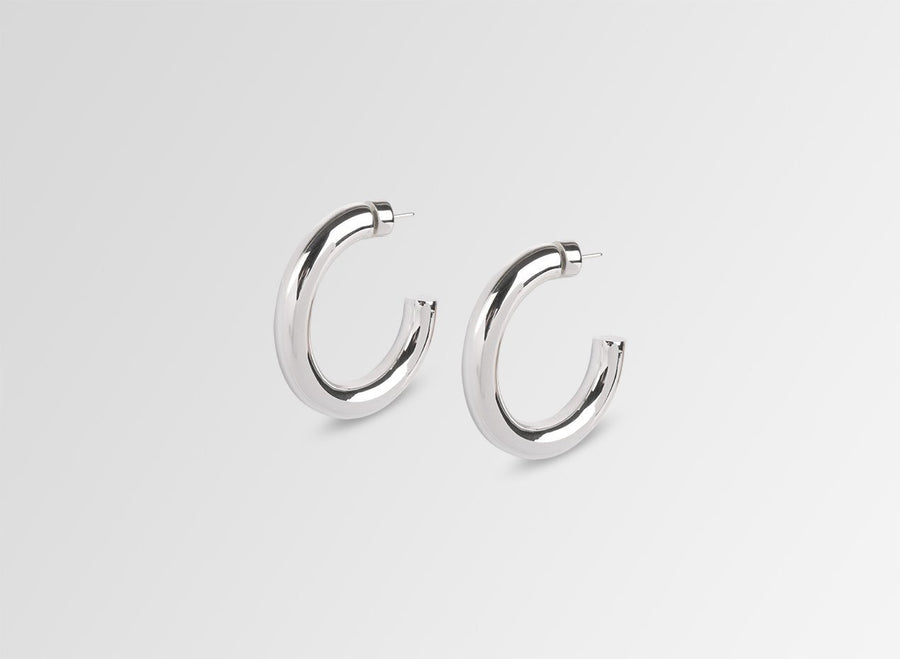 Louise Olsen Medium Bold Sade Hoop Earrings- Silver Plated