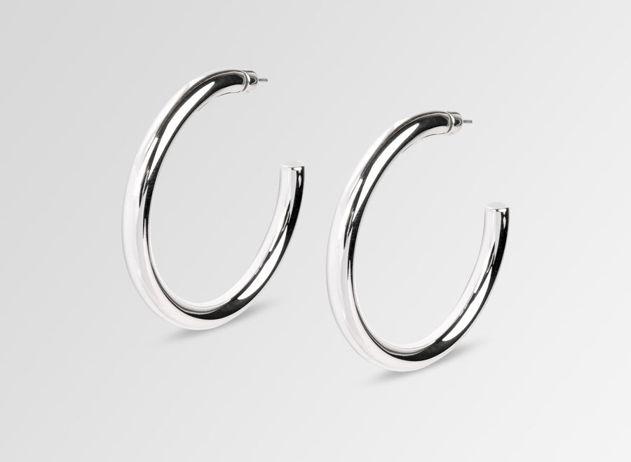 Louise Olsen Large Bold Sade Hoop Earrings- Silver Plated