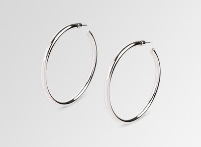 Louise Olsen Large Fine Sade Hoop Earrings- Silver Plated