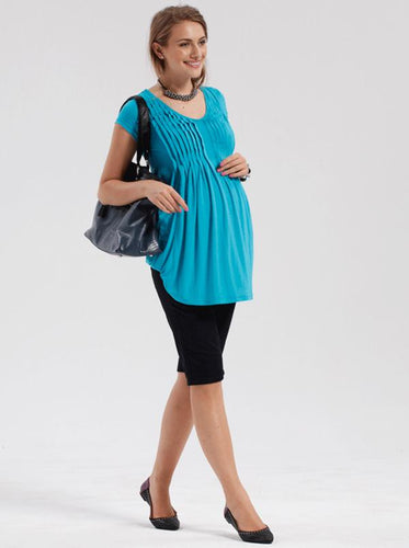 Angel Maternity Cotton Knee Shorts in Black