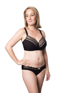 Hotmilk Show Off Nursing Bra Wirefree- JET BLACK