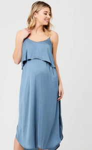 Ripe Maternity Nursing Slip Dress Petrol