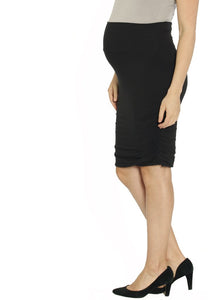 "Angel Maternity ""The Rouched"" Maternity Bamboo Skirt - Black"