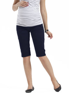 Angel Maternity Cotton Knee Shorts in Dark Navy