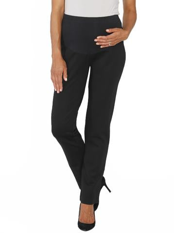 Angel Maternity Straight Cut Ponti Work Pants- Black