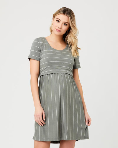 Ripe Maternity Crop Top Nursing Dress Olive / White