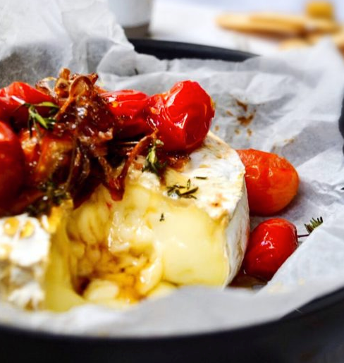 Baked Camembert with Caramelized Onions & Tomatoes