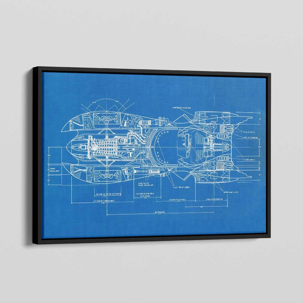 Batmobile Blueprints Canvas