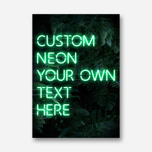 Custom Neon Green Sign Leaves Background
