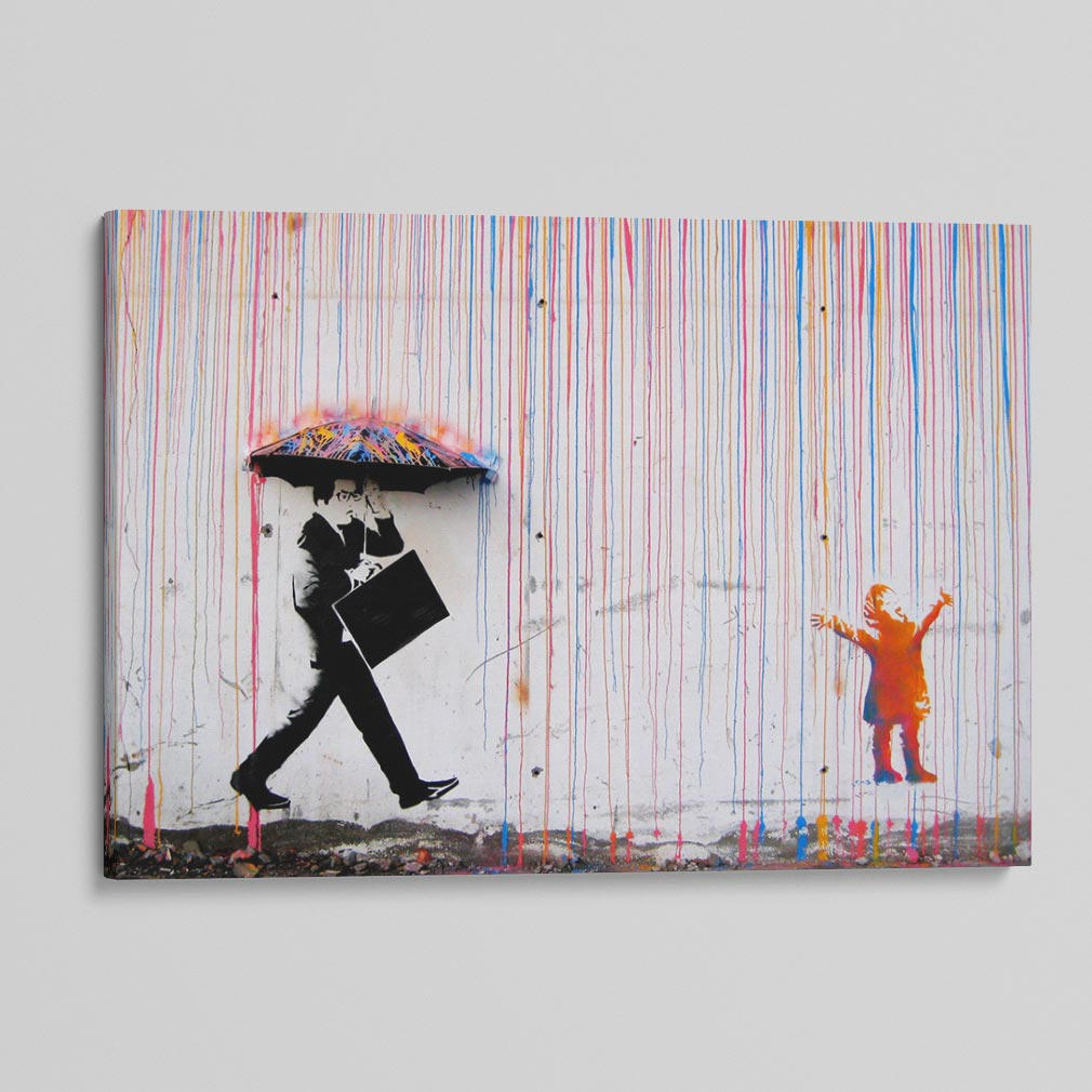 Happy Rainbow Rain Canvas