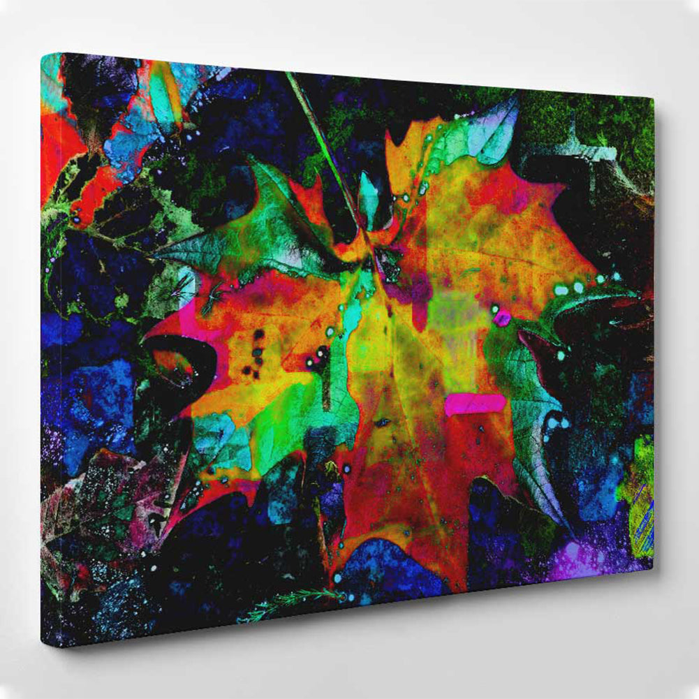 Abstract Multicolour Leaf canvas