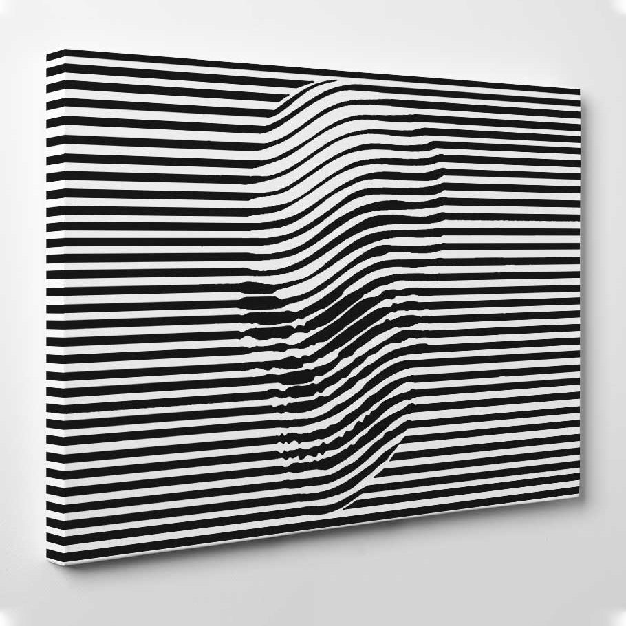 Abstract Black And White SkullLARGE WALL ART CanvasGiclee PrintLine Art