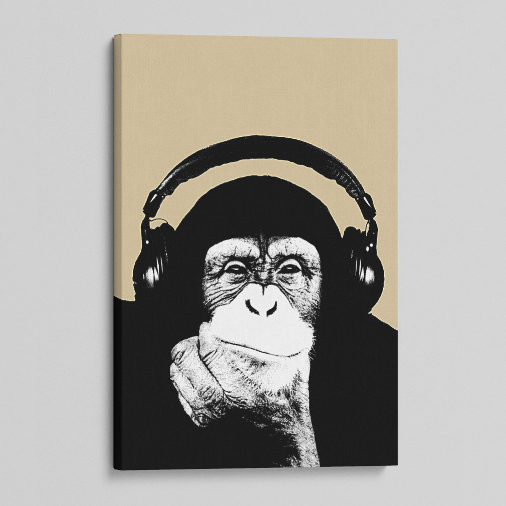 Monkey Headphones Canvas