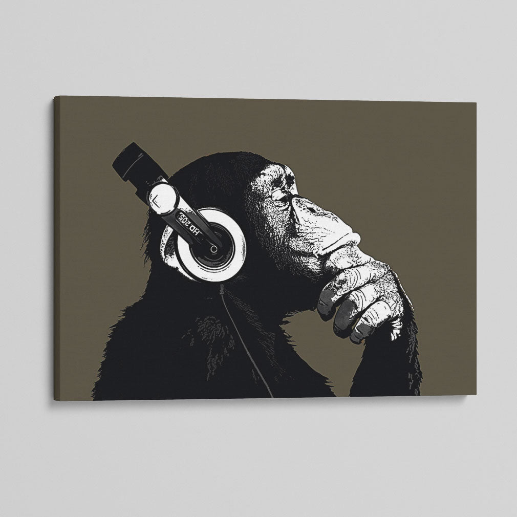 Side Profile Thinking Chimp Canvas