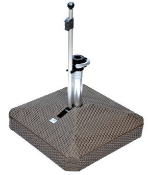 Liro Square Polyrattan Patio Parasol Base - Fixed Clamp - 45kg