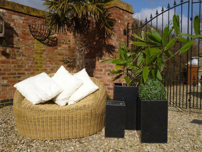 Fibre Clay Tall Cube Planters in Black Granite Effect - Set of 3